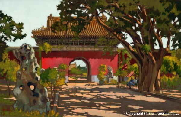 关广志《北京中山公园》(中国美术馆藏) 水粉 纸本 36.9cmx57cm 1952年