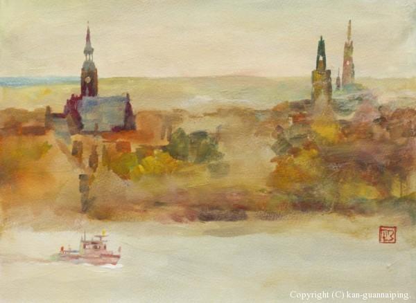 多瑙河之秋(奥地利) 水粉、丙烯混合技法 36.5cm×26.5cm