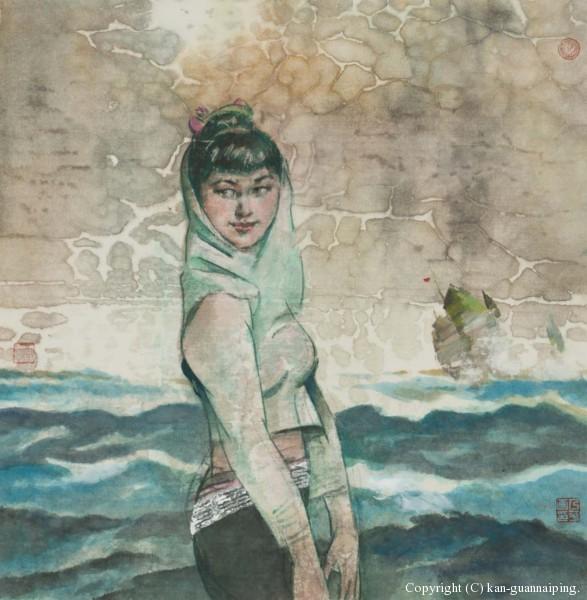 大海之女 彩墨 47.5cm×48.5cm