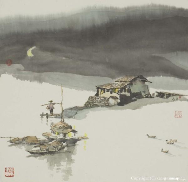 太湖月夜 彩墨 50.5cm×49cm