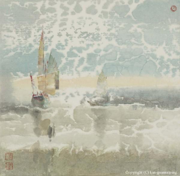 帆随云行 彩墨 49cm×48cm 2011年