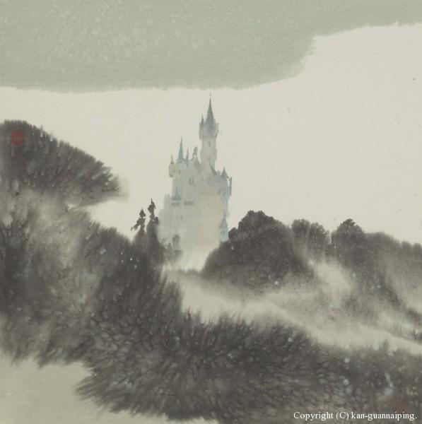 德国城堡 彩墨 49cm×49.5cm 2004年