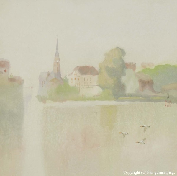 莱茵河畔 彩墨 50cm×49cm 2004年