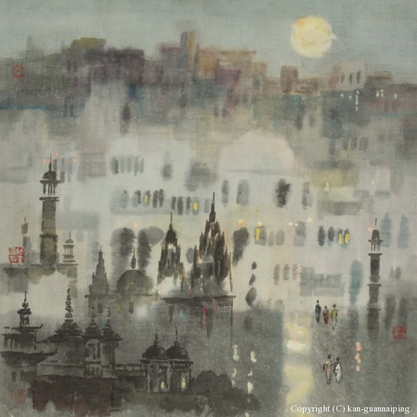 都市夜明(印度) 彩墨 51cm×51cm