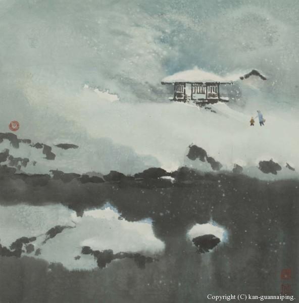 雪融融 彩墨 50.3cm×50.6cm 2000年