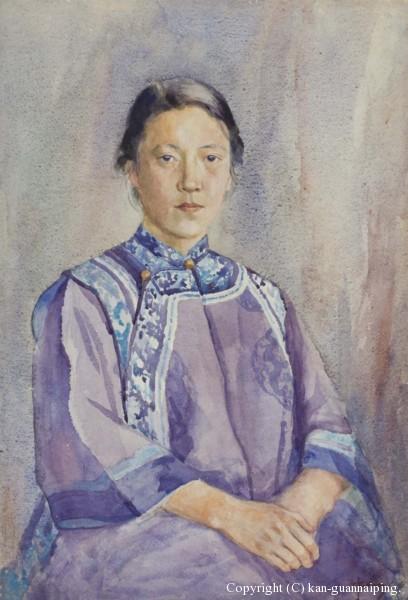 夫人肖像 水彩 39cm×57.5cm 40年代